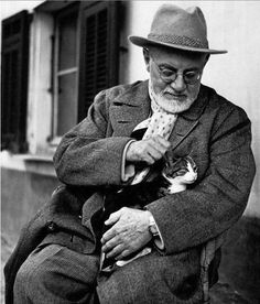 Famous Artists Photographed With Their Cats. Henri Matisse.