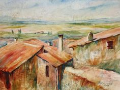 Olga Vinnitskaya. Provence, Aquarell mit Frischhaltefolie auf Papier.