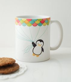 Fly High Penguin Mug Cup by MyDearDarling on Etsy, $20.00. I want this!!