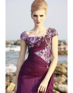 U-neckline Cap Sleeves Evening Dress http://pinterest.com/nfordzho/boards/
