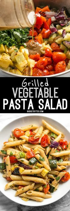 This classic summer Grilled Vegetable Pasta Salad features smoky fire licked vegetables and a homemade creamy balsamic vinaigrette. BudgetBytes.com