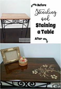 This was a table bought at a garage sale and given a new look. I stenciled a flower design, stained, and applied polyurethane on this furniture. Stenciling and Staining a Table
