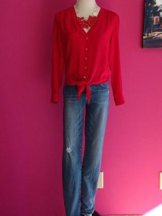 obsessed with the red necklace and silk Amanda Uprichard tie top!