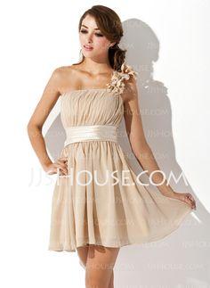 Vestidos princesa/ Formato A Um ombro curto comprimento Chiffon Charmeuse Vestido de boas vindas com Pregueado fecho de correr (022007272) - JJsHouse
