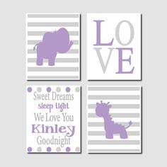 Baby Girl Purple Grey Elephant Giraffe Nursery Wall Art Quote Set of 4 Prints Jungle Girl Wall Art Baby Girl Room Crib Nursery Decor Art on Etsy, $38.00