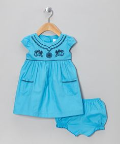 Take a look at this Blue Cap-Sleeve Dress & Bloomers - Infant & Toddler by the Mini Sissy on #zulily today!