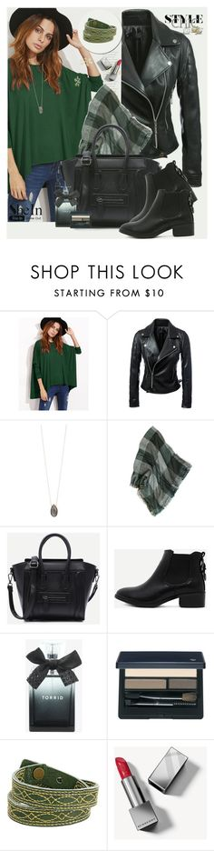 """Green T-shirt in SheIn!"" by manuela-cdl ❤ liked on Polyvore featuring Dara Ettinger, Torrid, Clé de Peau Beauté, Frye and Burberry"