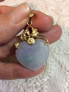 Vintage 18k 750 Yellow Gold Lavender Jadeite Jade Heart Pendant #Pendant