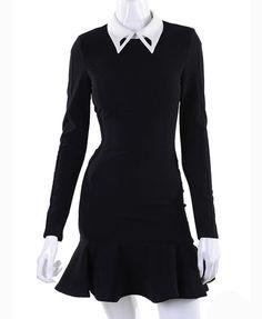 Black Long Sleeves Dress with Frill Hem