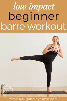 A low impact barre workout perfect for everyone, pregnant, postpartum, bad knees, or just need a low impact workout to sculpt and tone at home. A 20 minute workout that's easy on the knees but challenges your fitness. Combines traditional barre movements with strength training exercises to sculpt, tone, burn calories. Upper body, lower body, shoulders, squats, triceps, biceps, and booty work!