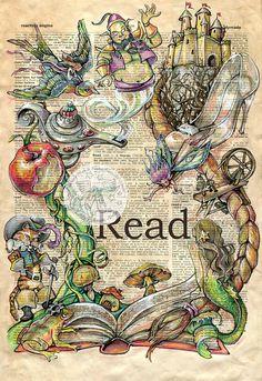 6 x 9 oder 12 x 18 Druck von Original, Mischtechnik, Zeichnung auf beunruhigt, Wörterbuch Dieser wunderliche Druck einer Originalzeichnung von Bildern aus beliebten Fairy Tales um ein Buch ist in Sepia-Tinte gezeichnet und erstellt mit Pastell und farbige Stifte auf einer beunruhigt