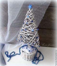 Купить Новогодняя ёлочка плетеная. - серый, Новый Год, игрушка ручной работы, новогоднее украшение