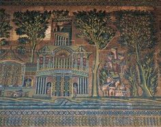 Fig. 13 Umayyad Mosque (building) Damascus, Syria - 715 - Marble, glass, Use: Mosque, used for prayer Significance: Mosaic in particular- Landscape of paradise where true believers go after death. Mosaic decoration showing fantastic landscape