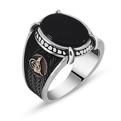 Custom Design Onyx Ring Sterling Silver Claw-52139:itshandicraft.com:Men Rings:tesbihane