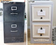 Old File Cabinet to Classy Fabric Storage - - Turn an old file cabinet into the prettiest accessory for your craft room - You have to see this transformation! Looking for a way to store all those pieces of fabric you've been collecting? Upcycled Crafts, Recycled Decor, Repurposed Furniture, Diy File Cabinet, Craft Cabinet, Cabinet Storage, Cabinet Ideas, Craft Room Storage, Fabric Storage