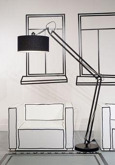It's about RoMi - Vloerlamp Milano. Urban style vloerlamp gemaakt van ijzer met een katoenen kap. Verkrijgbaar in 3 kleursamenstellingen.
