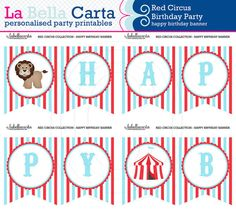 "Red Circus Personalised ""Happy Birthday"" Banner, Birthday Party, Printable Party, Circus DIY Party, Printable Party Decor"