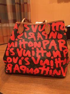 d389ce2c3ebf Beautiful limited edition Louis Vuitton Neverfull Handbag. Stephen Spouse Orange  graffiti.