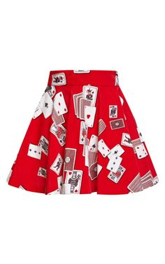 Red Dynamo Playing Cards Velvet Mini Skirt by Olympia Le-Tan for Preorder on Moda Operandi