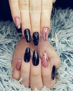 Black marble, nude Nude nails, style nails, design nails, glamour nails, black nails, marmur nail art