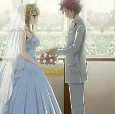 Natsu and Lucy in a white dress and a tux. (Just stating the facts) Fairy Tail
