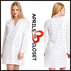 Embellished White Tunic Swim Coverup Mini Dress ❤️ Embellished Sequin Pastel White Tunic Swim Coverup Shift Mini Eyelet A-Line Shirt Dress shift Boutique Tops Tunics