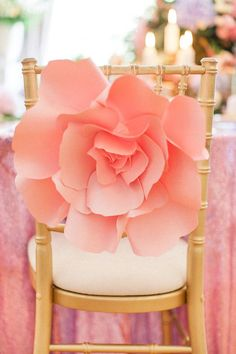 coral paper roses wedding chair decor