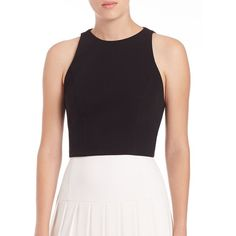Alice + Olivia Women's Barrett Cropped Cutout Top - Black (3,880 DOP) ❤ liked on Polyvore featuring tops, apparel & accessories, black, crop top, sleeveless crop top, cut out top, cut out crop top and sleeveless tops