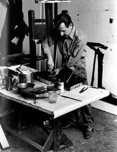 Franz Kline in his studio