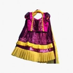 Purple Sequence and net lehanga with contrasting yellow detailing