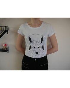 T-shirt Mountain Wolf - Loup géométrique 100% coton bio - Blanc et noir