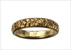 1912 Edwardian Carved Gold Wedding Band