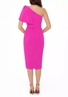 Betsy & Adam Women's Bow Shoulder Ruffle Sheath Dress | belk Spanish Wedding, Formal Looks, Review Dresses, Sheath Dress, Dresses Online, Ruffles, One Shoulder, Bows, Fashion