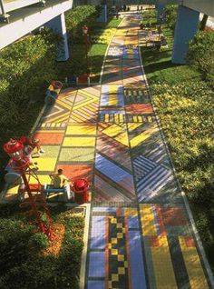 Week 10: This colorful pedestrian road also provides niches for people to sit at to enjoy the view