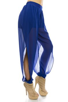 - Harem Style Pants - Side Slit   - Sheer - Elastic Waist  - Partially Lined  - Fits True To Size