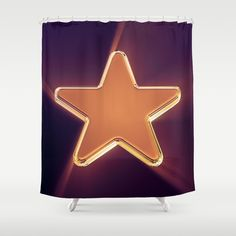 Superstar (Radiant Sunrise) Shower Curtain. Available at Society6, these bathroom curtains feature crisp and colorful prints on the front, with a white reverse side. #stars #superstar #homedecor #showercurtains #POD #design #geometric #popart #hollywood #chrome #artdeco