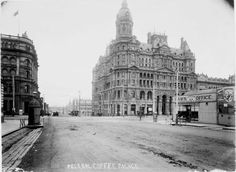 Federal Coffee Palace, corner Collins and King Street, photo undated. This grand building, a temperance building (no liquour licence) opened in 1888 - it had 500 rooms including 370 bedrooms. It was later granted a licence and became the Federal Palace Hotel, and then the Federal Hotel and was demolished in 1973. As a matter of interest - note the public urinal on the left.  State Library of Victoria Image H4464