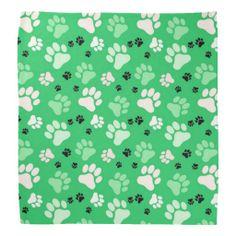 Green Paw Prints | Dog Bandana