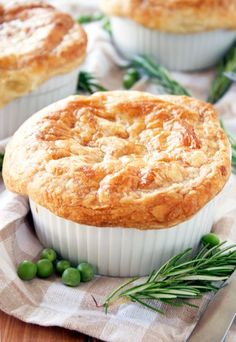 Mini Chicken Pot Pie with Puff Pastry Crust