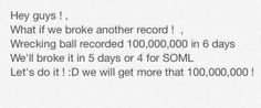 Can we give VEVO a break for a second so they can verify our record before we break another one<<< haha! NO we never wait we never stop we never sleep we break records that's all we do!