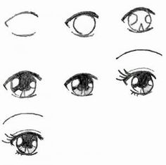 Learn how to draw eyes by following these steps shown above... :)