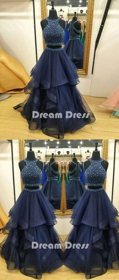 Dark blue two pieces beads long prom dress, formal dress,PD260012 #promdresses #shopping #fashion #dresses #evening