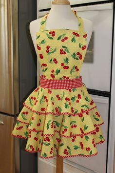 Cute Cherries on Bright Yellow with white Polka Dots Retro Glam Circle Skirt Apron, red gingham bias, Suzy Homemaker nostalgic Women's Apron by MySeamingBrain on Etsy
