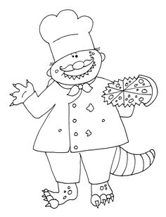 Free Dearie Dolls Digi Stamps Beastie Chef With Pizza