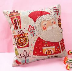 Santa with Presents Image Linen Cushion Covers removable for washing Filled with 100% Australian Alpaca Fibre