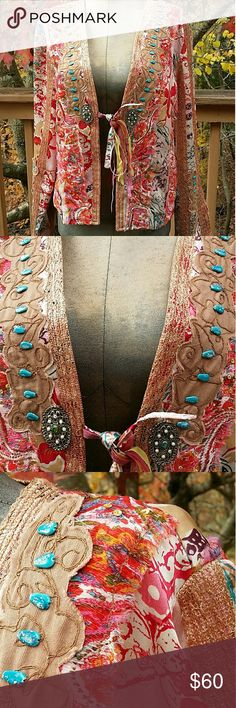 Silk Boho Jacket SM Western Flair Super unique 100% Silk Jacket with a multitude of colors and bling going on. Real show stopping piece. Beadwork throughout - see all 7 photos. Some areas purposely frayed and came that way. Stunning jacket that can take you many places! Size Small Sandy Starkman Jackets & Coats Blazers