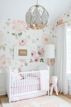 Love the wallpaper. Girl Nursery | Lillya's Nursery | http://monikahibbs.com