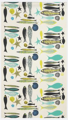 Length of printed cotton with clusters of stylized fish, shells and starfish in black, blue, turquoise and yellow-green on a white ground.