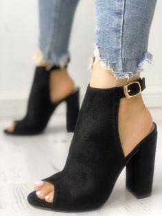 Solid Suede Peep Toe Slingback Chunky Heels Fashion Women 7e0485f641bd