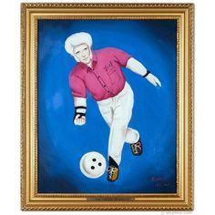 Albino Bowler Oil Painting ~ Archie McPhee $99.95